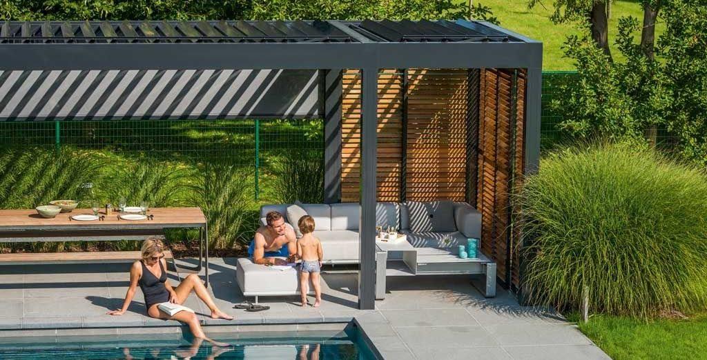 Overdekt terras met waterdichte lamellen of lichtdoorlatend doek - Terras tuin decoratie ...